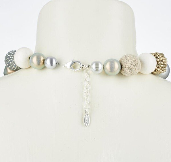 Short pearl necklace Bollywood granite made of a fine material mix | Perlenmarkt