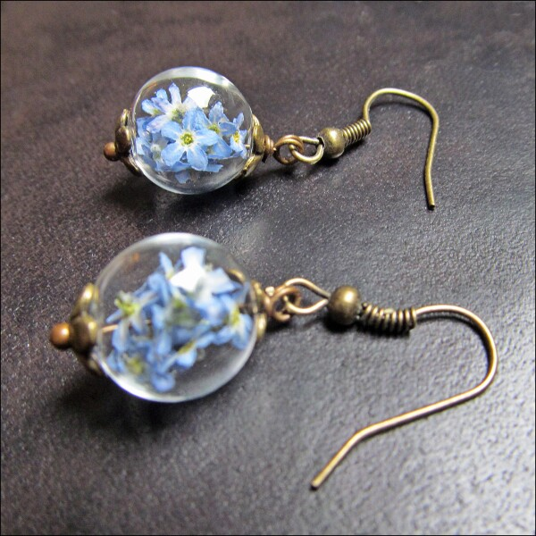 Earrings with real forget-me-not flowers | Carol and Me