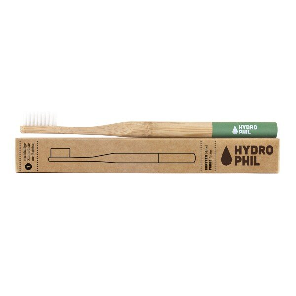 Hydrophilic sustainable toothbrush made of bamboo in green   soki Kassel