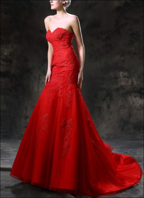 Red Mermaid Wedding Dress With Train By Lafanta Braut Und Abendmode
