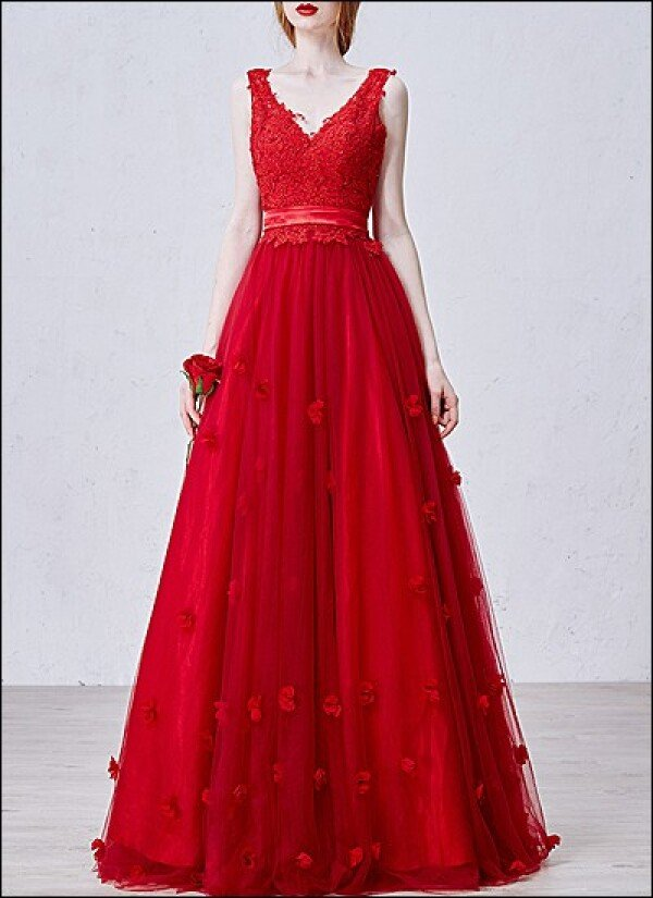 Red Wedding Dress Ball Gown With Lace And V Neck By Lafanta Abend
