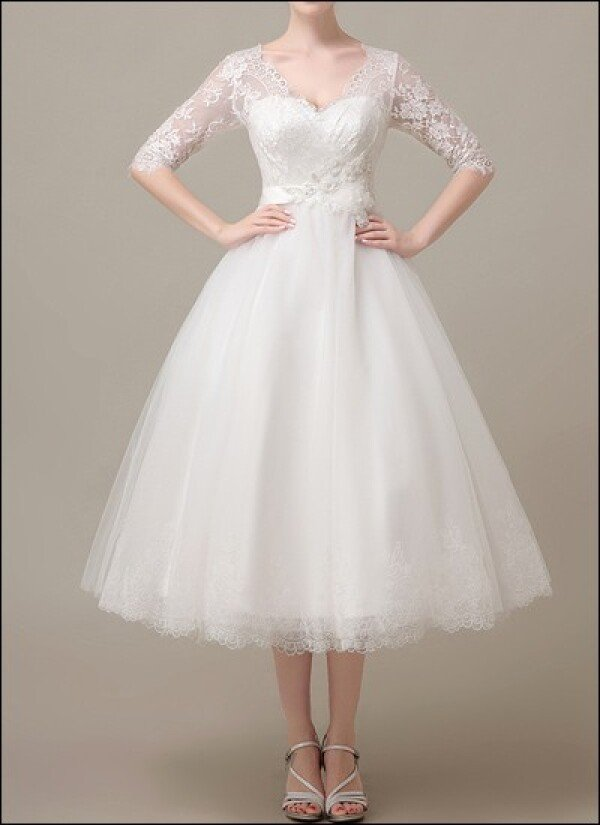 50s wedding gown with lace sleeves  | Lafanta | Braut- und Abendmode