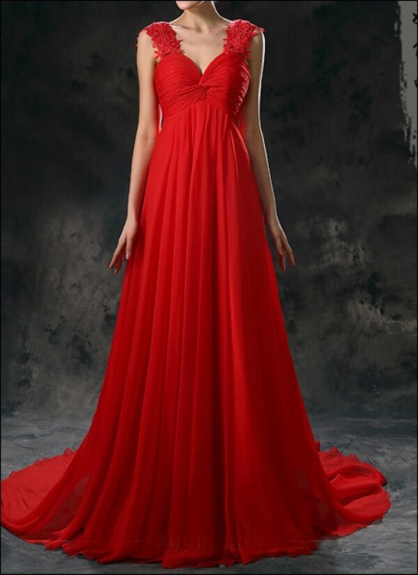 Red Empire chiffon dress with straps | Lafanta | Abend- und Brautmode