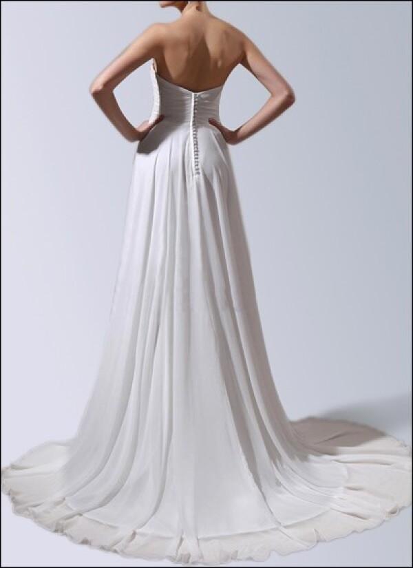 Wedding dress made of chiffon with button front and train | Lafanta | Abend- und Brautmode