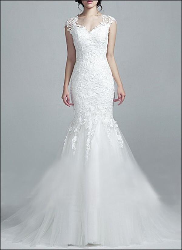 Wedding dress lace part transparent back | Lafanta | Braut- und Abendmode