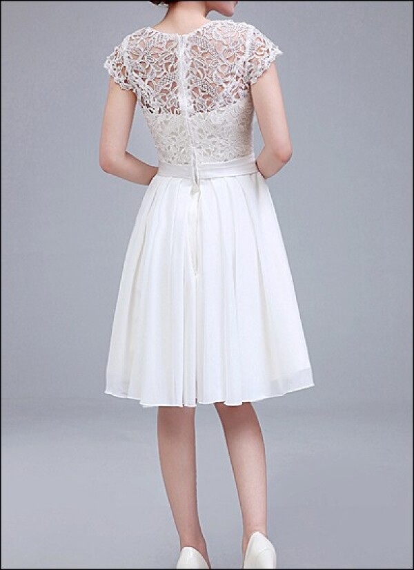 Knee Length Wedding Dress With Lace Sleeves