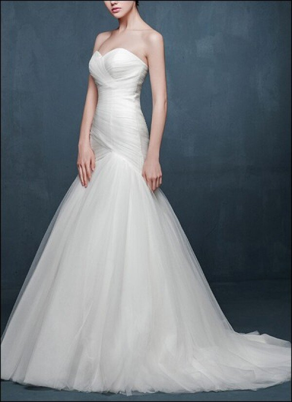 Mermaid wedding dress made of tulle with ruffle | Lafanta | Abend- und Brautmode
