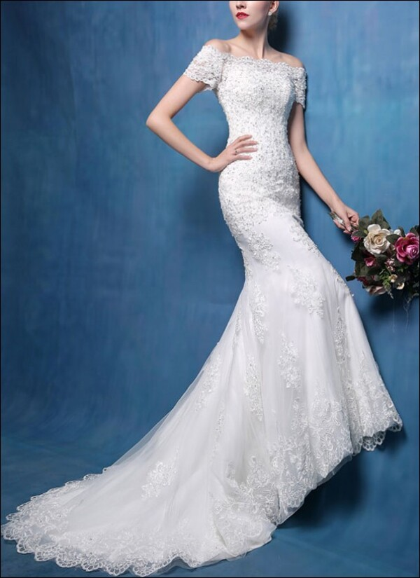 Mermaid Cut With Sleeves And Lace Wedding Gown By Lafanta Abend