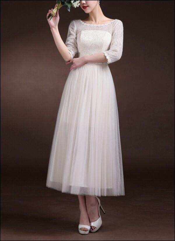 60s wedding dress with 3/4 sleeves | Lafanta | Abend- und Brautmode
