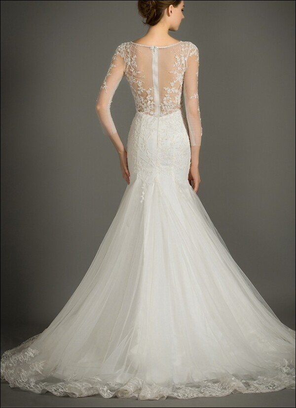 Wedding gown with embroidery and transparent back | Lafanta | Abend- und Brautmode