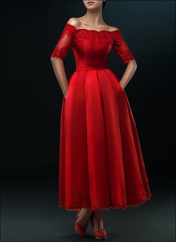 Red wedding dress with pleated skirt for registry office | Lafanta | Braut- und Abendmode