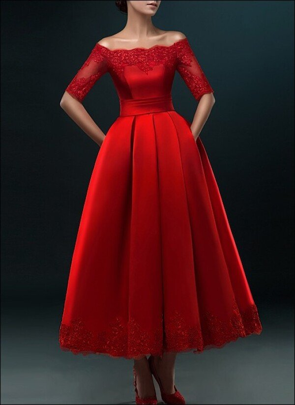 Red wedding dress with pleated skirt for registry office | Lafanta | Abend- und Brautmode