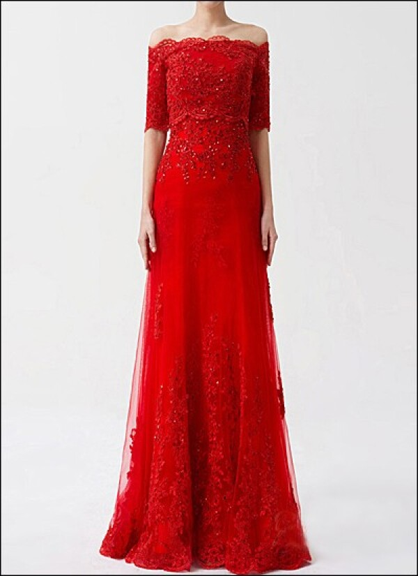 Red wedding dress lace with applications | Lafanta | Braut- und Abendmode