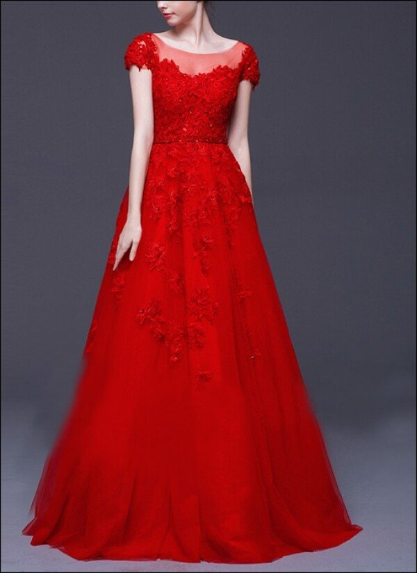 Red wedding dress lace with sleeves | Lafanta | Abend- und Brautmode