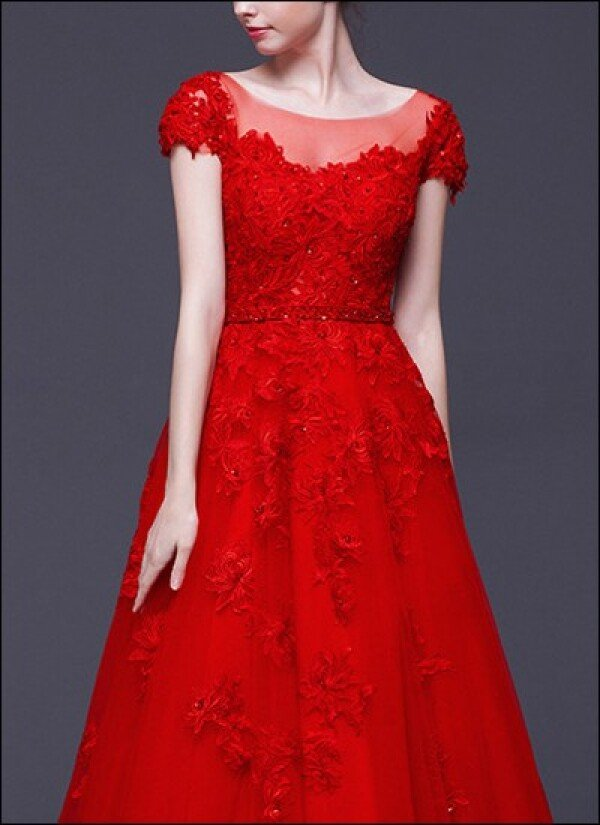 Red Wedding Dress Lace With Sleeves By Lafanta Abend Und Brautmode
