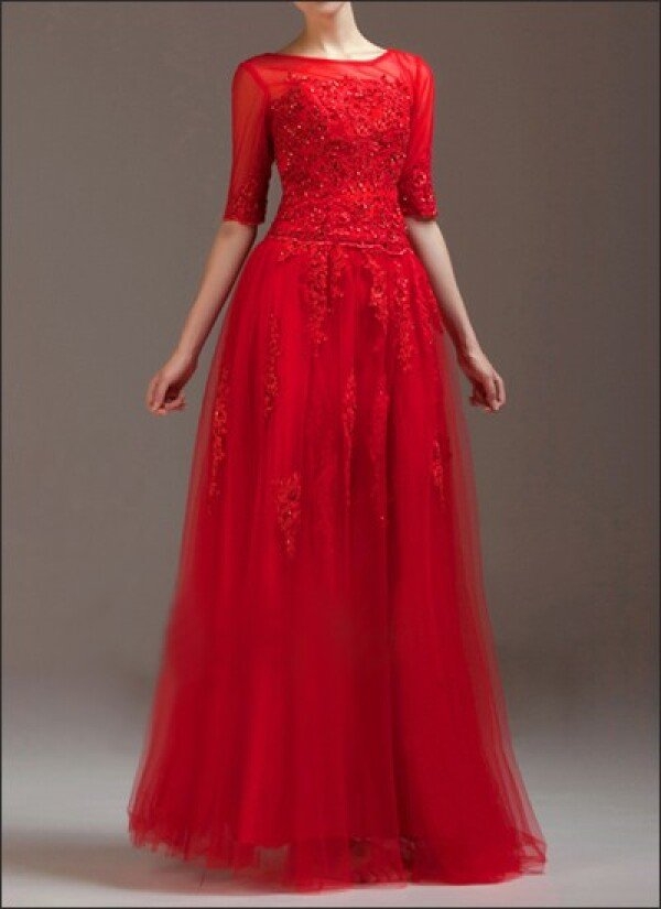 Red wedding dress made of tulle and top with 3/4 sleeves | Lafanta | Abend- und Brautmode