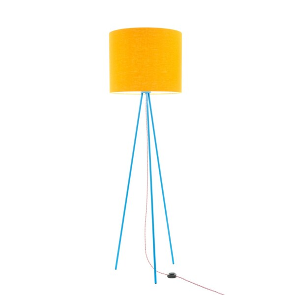 Hygge floor lamp Linum 130cm Blue linen shade textile cable   lumbono