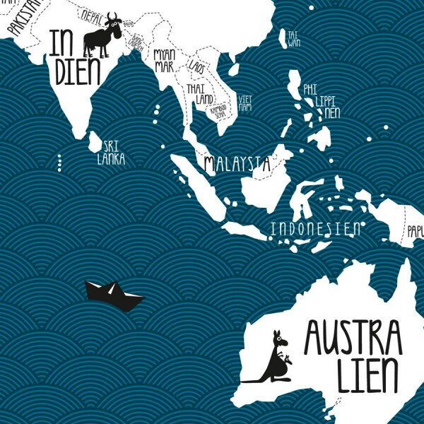 A Poster World Map Petrol Blue By Amy And Kurt Berlin - A1 world map poster