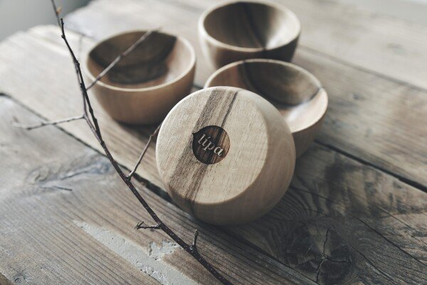 Set of 4 wooden bowls from walnut wood | Lipa store