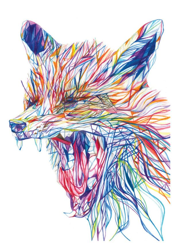 Yawning Fox - signed gesso print | Jam Art Factory