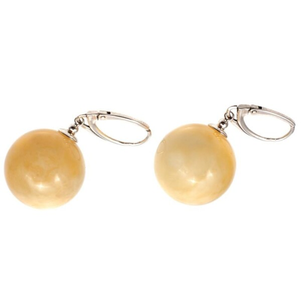 Yellow amber and silver earings | BalticBuy