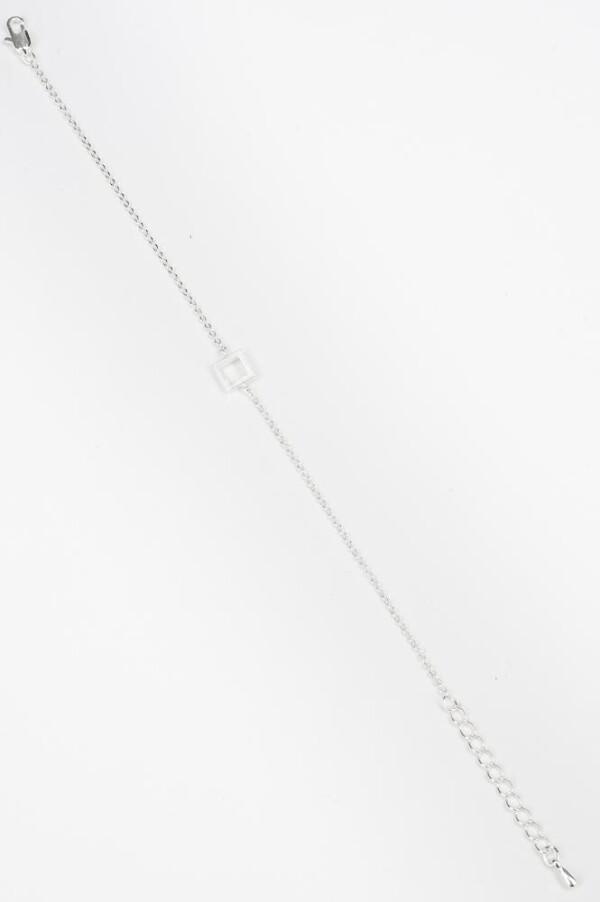 Armband mit kleinen Quadrat Motiv versilbert | Perlenmarkt