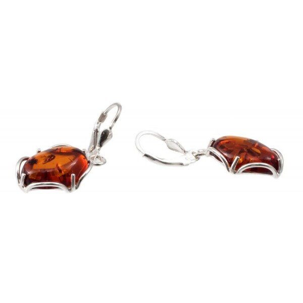 Silver earring with Caramel color amber | BalticBuy