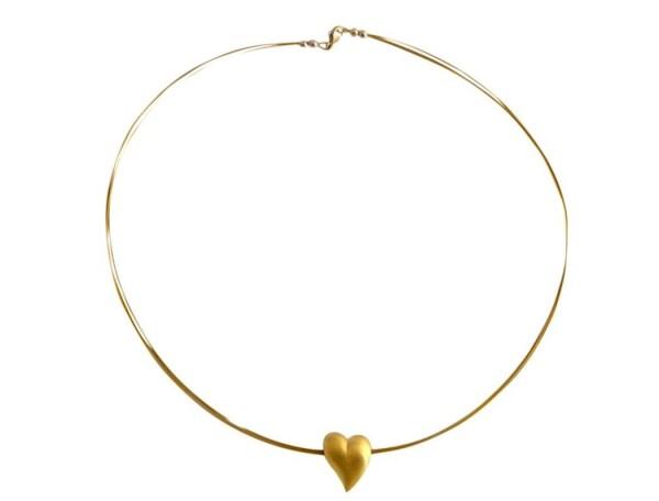 Herz Halskette Anhänger 925 Silber Vergoldet 2 cm   Gemshine Schmuck