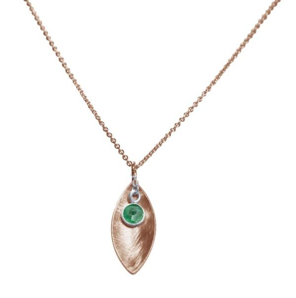 Halskette Anhänger 925 SilberRose Vergoldet Marquise Minimalistisch Design Smaragd Grün 45 cm | Gemshine Schmuck