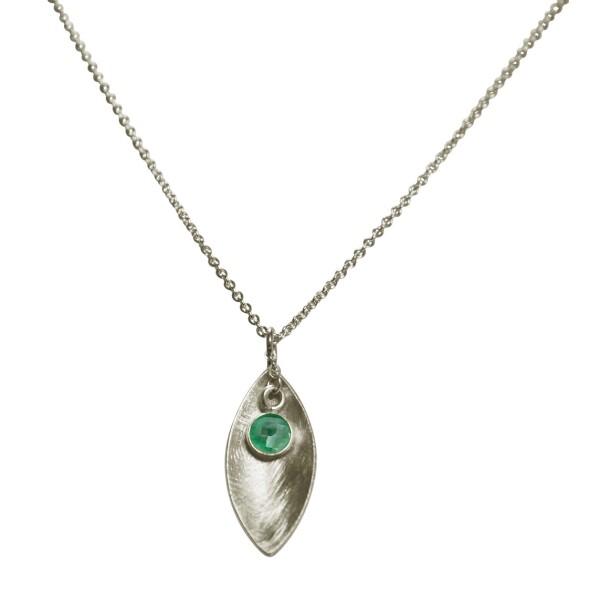Halskette Anhänger 925 Silber Marquise Minimalistisch Design Smaragd Grün 45 cm | Gemshine Schmuck