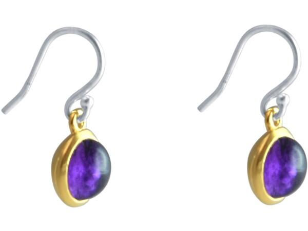 Ohrringe 925 Silber Vergoldet Amethyst Violett 20mm   Gemshine Schmuck