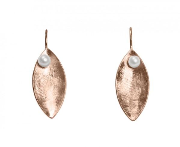 Ohrringe Ohrhänger 925 SilberRose Vergoldet Marquise Minimalistisch Design Perle Weiß 3 cm | Gemshine Schmuck
