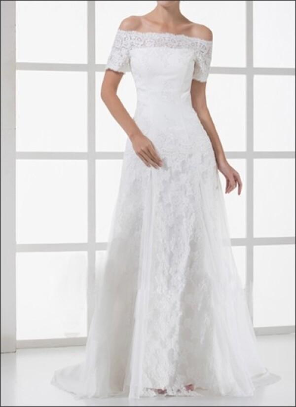 Spitzen Brautkleid Mit Carmen Ausschnitt Und Armeln Von Lafanta