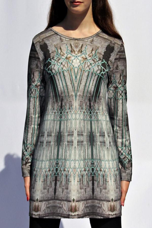 steingrau-türkisfarbenes Longshirt mit eigenem Stoffdruck LEVIOSA_65 | MOLOTOW