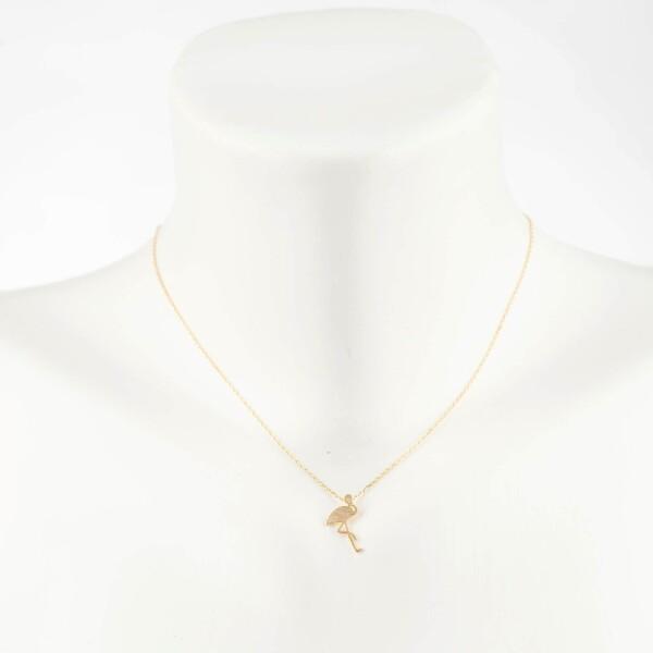 Kurze Kette mit Flamingo Motiv vergoldet | Perlenmarkt