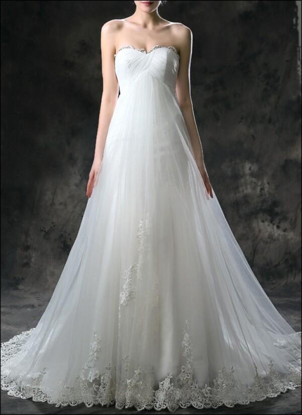 quality design e4221 18e5a Empire Brautkleid mit Spitze und Schleppe