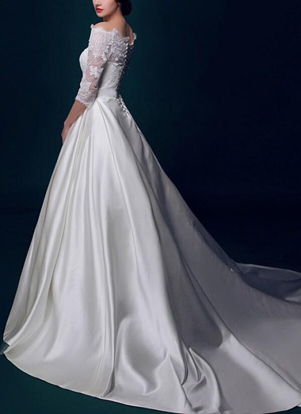 Prinzessin Brautkleid mit Satinrock und Schleppe von Lafanta | Abend ...