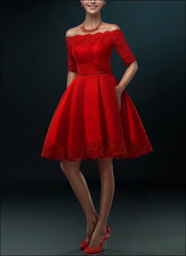 Rotes Brautkleid Mit Faltenrock Fur Standesamt Von Lafanta Braut Und Abendmode