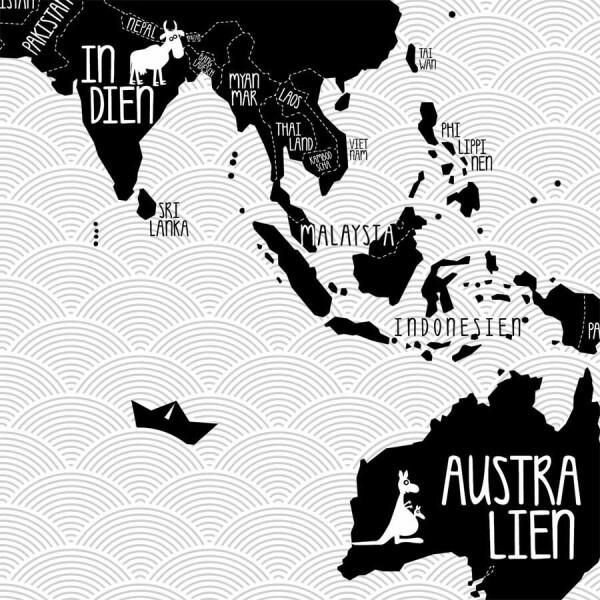 A0 Poster Weltkarte Schwarz Weiss Von Amy And Kurt Berlin