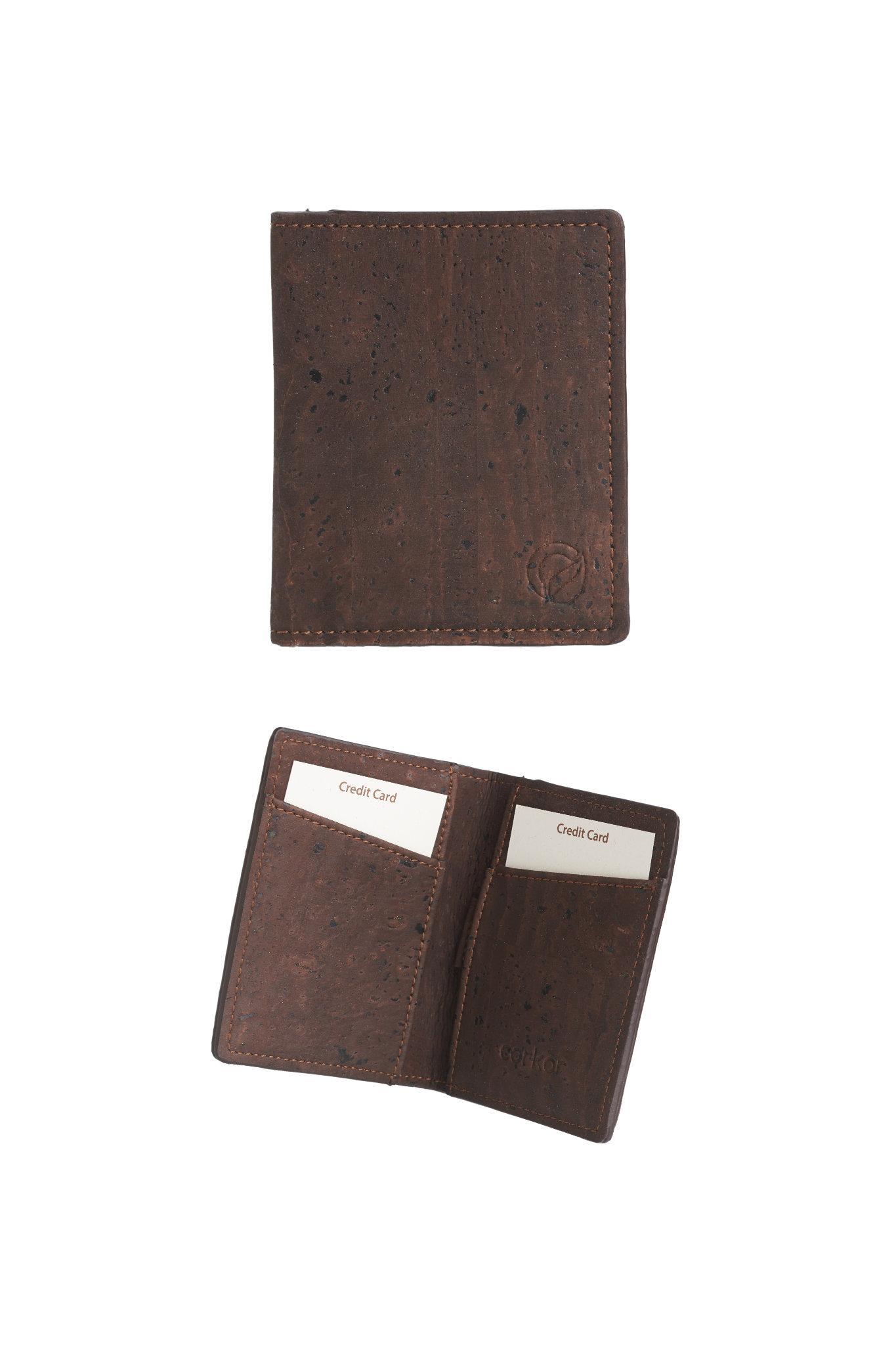 Geldbörse aus Korkleder für Kreditkarten (braun...