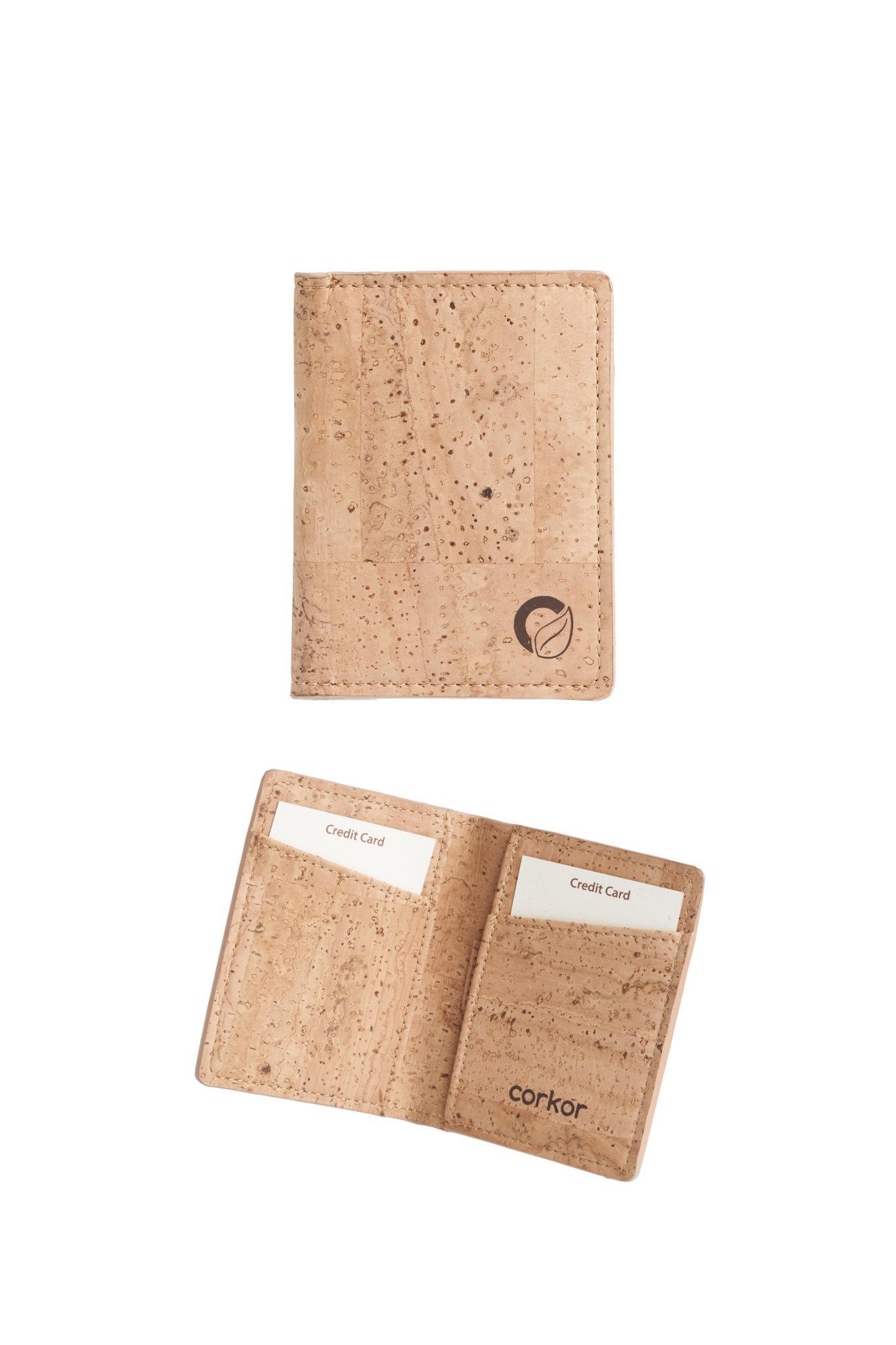 Geldbörse aus Korkleder für Kreditkarten (natur...
