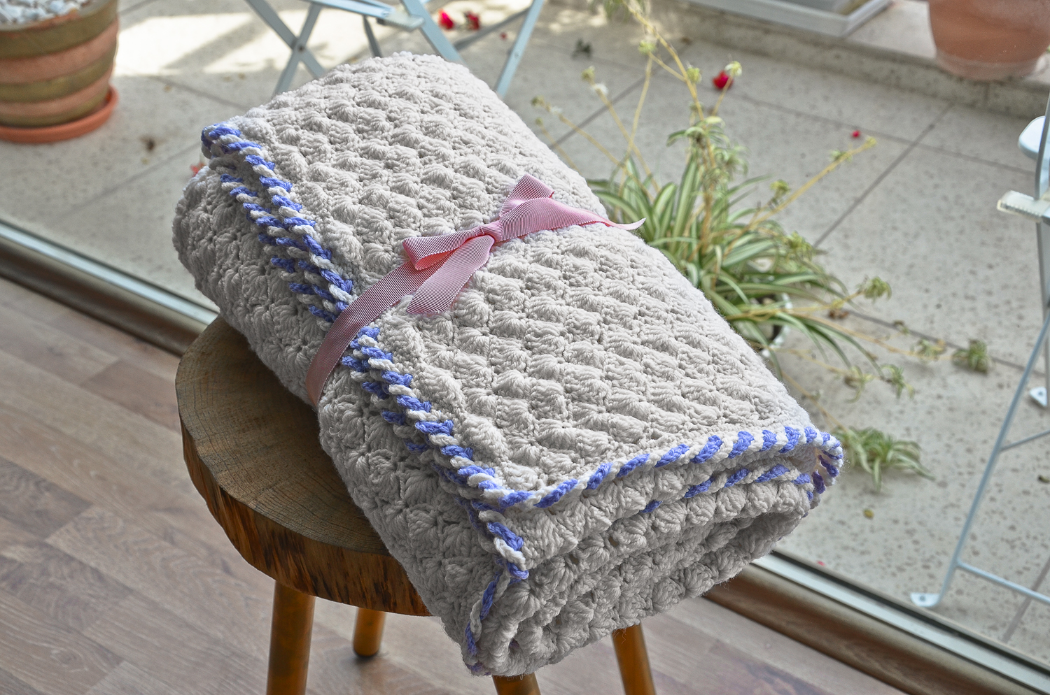 Wool crochet blanket