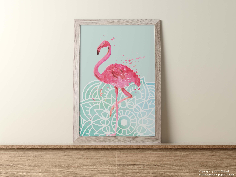 Kunstdruck Flamingo mit einem Mandala-Bohemian-...
