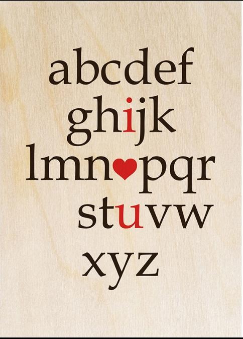 Postkarte aus Holz ´I love you´