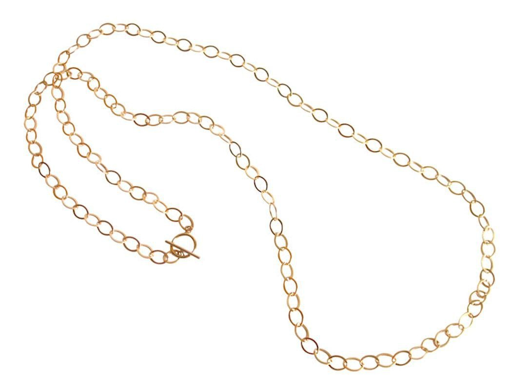 Halskette Vergoldet Hochpolierte Ovalen 90 cm