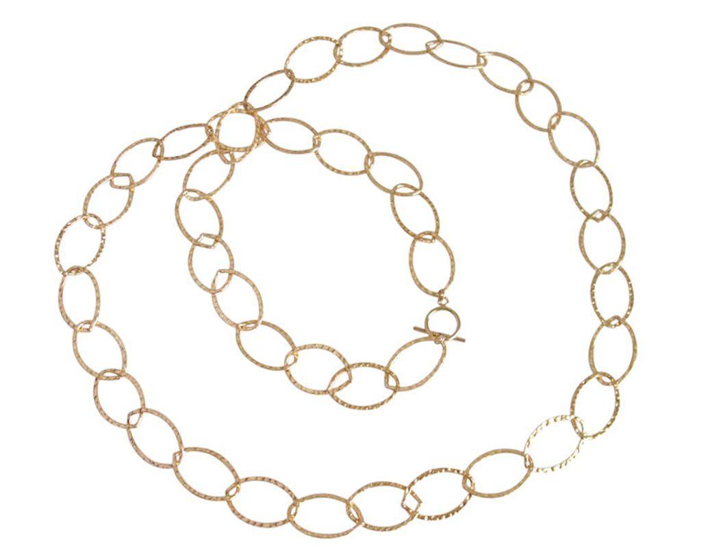 Halskette Vergoldet Gehämmert 90 cm