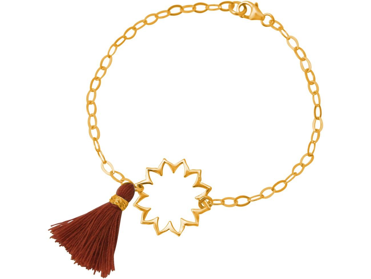 Armband 925 Silber Vergoldet Mandala QuasteRotb...