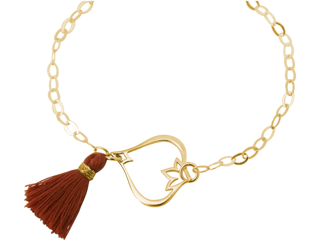 Armband 925 Silber Vergoldet Lotus Blume Quaste...