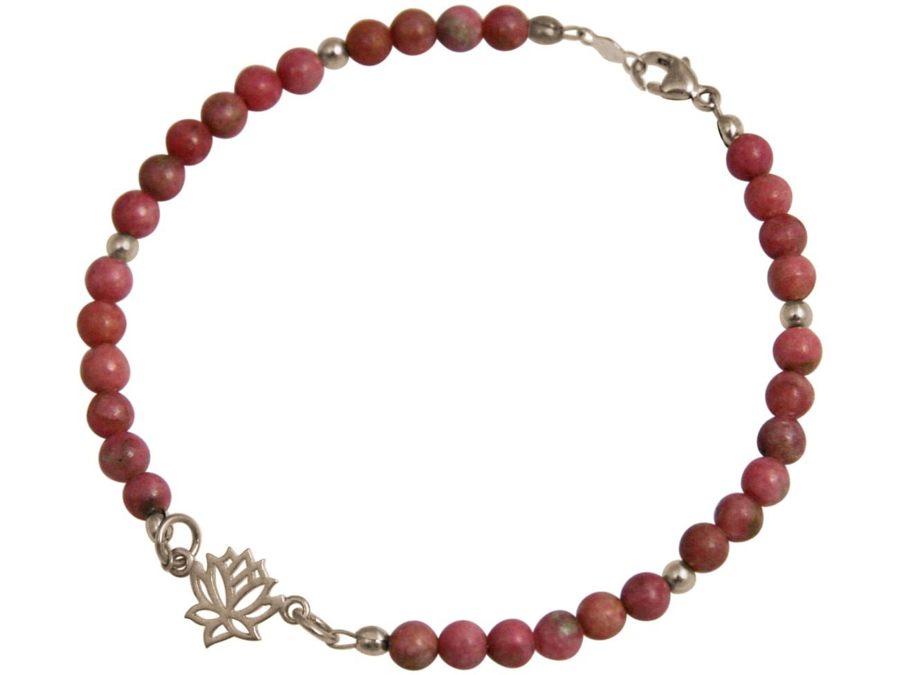 Armband 925 Silber Lotus Blume EdelsteinRosa YOGA