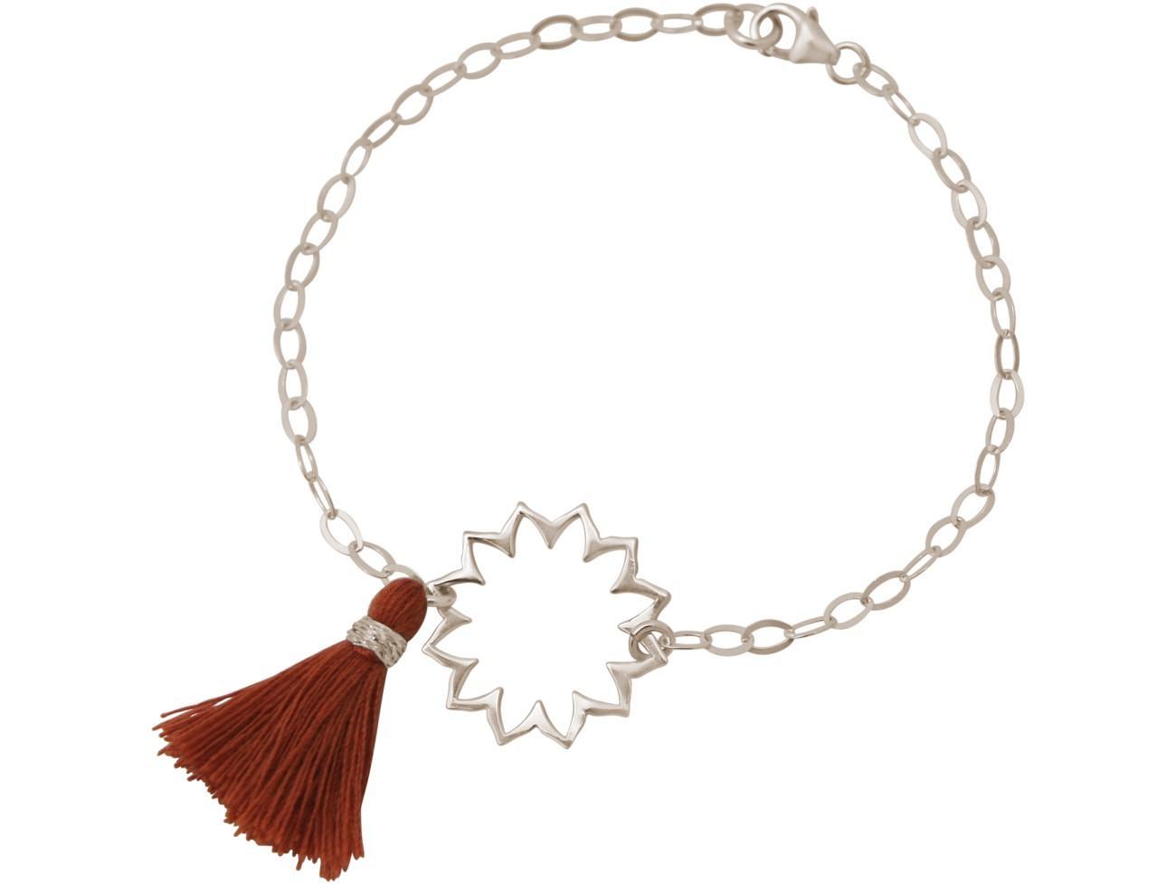 Armband 925 Silber Mandala QuasteRotbraun YOGA